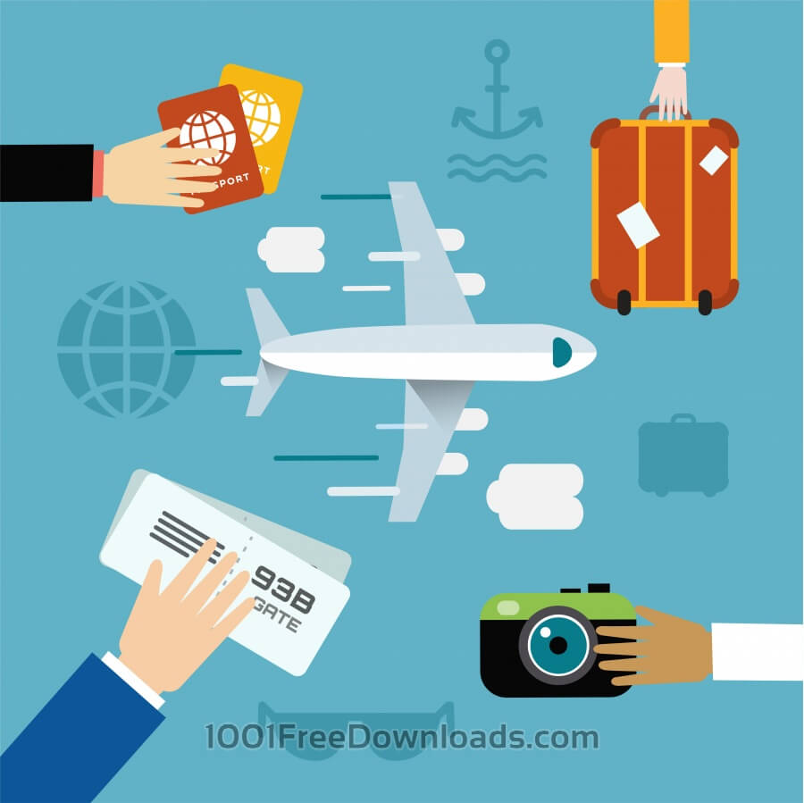 Free Free vector illustration of airplane flying and some travel tools