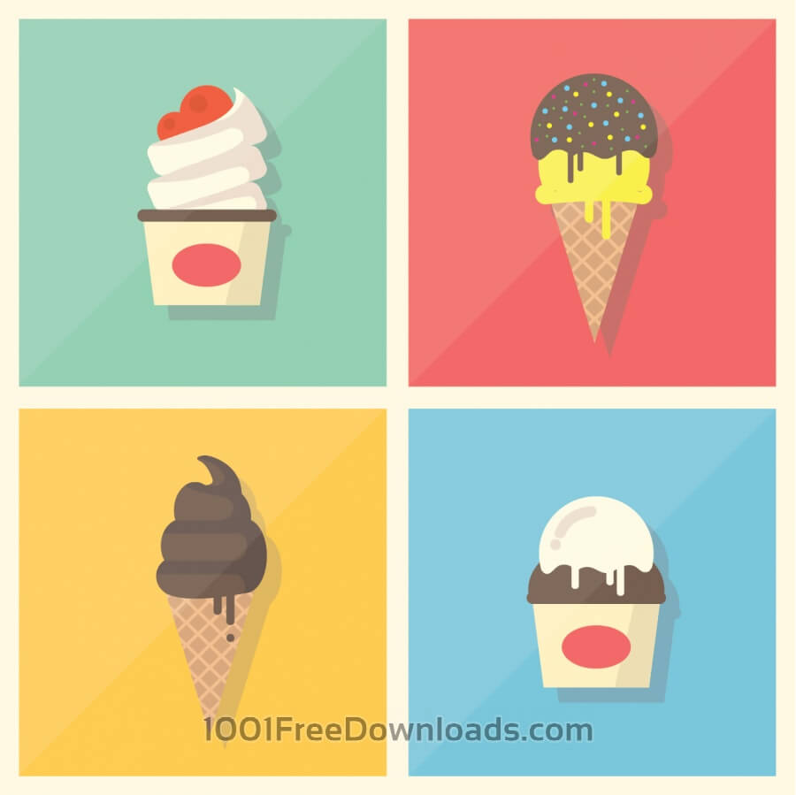Free Retro Vintage Flat Ice Cream Collection