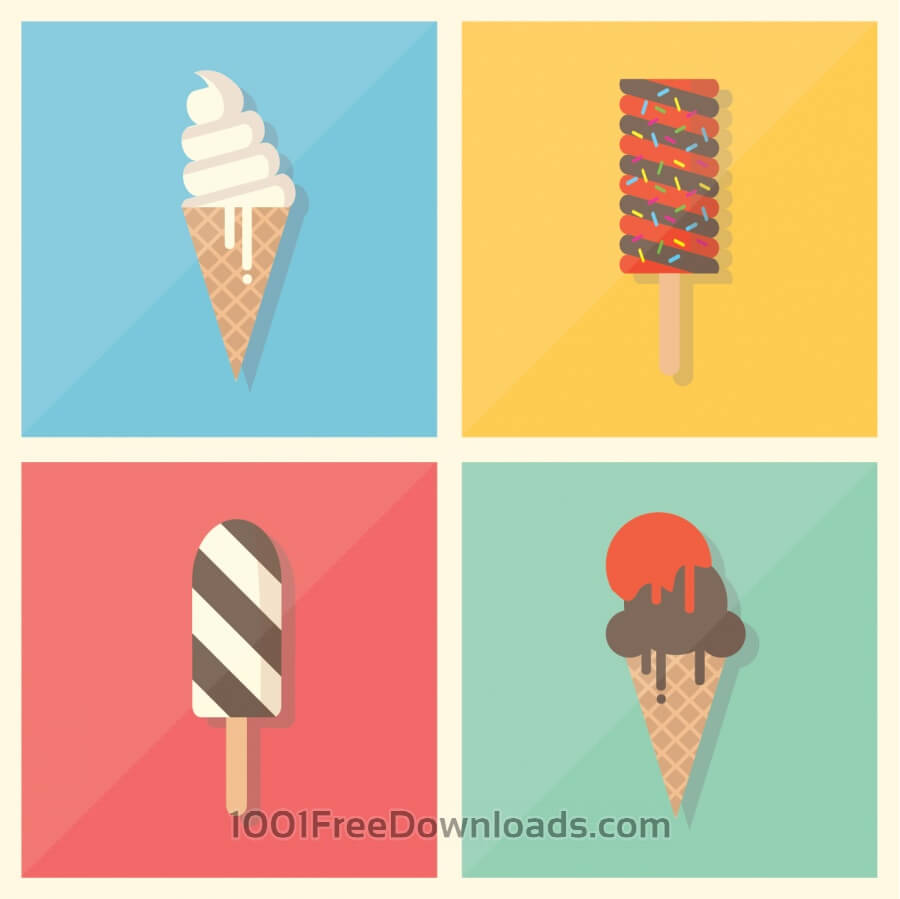 Free Vectors: Retro Vintage Flat Ice Cream Collection | Backgrounds