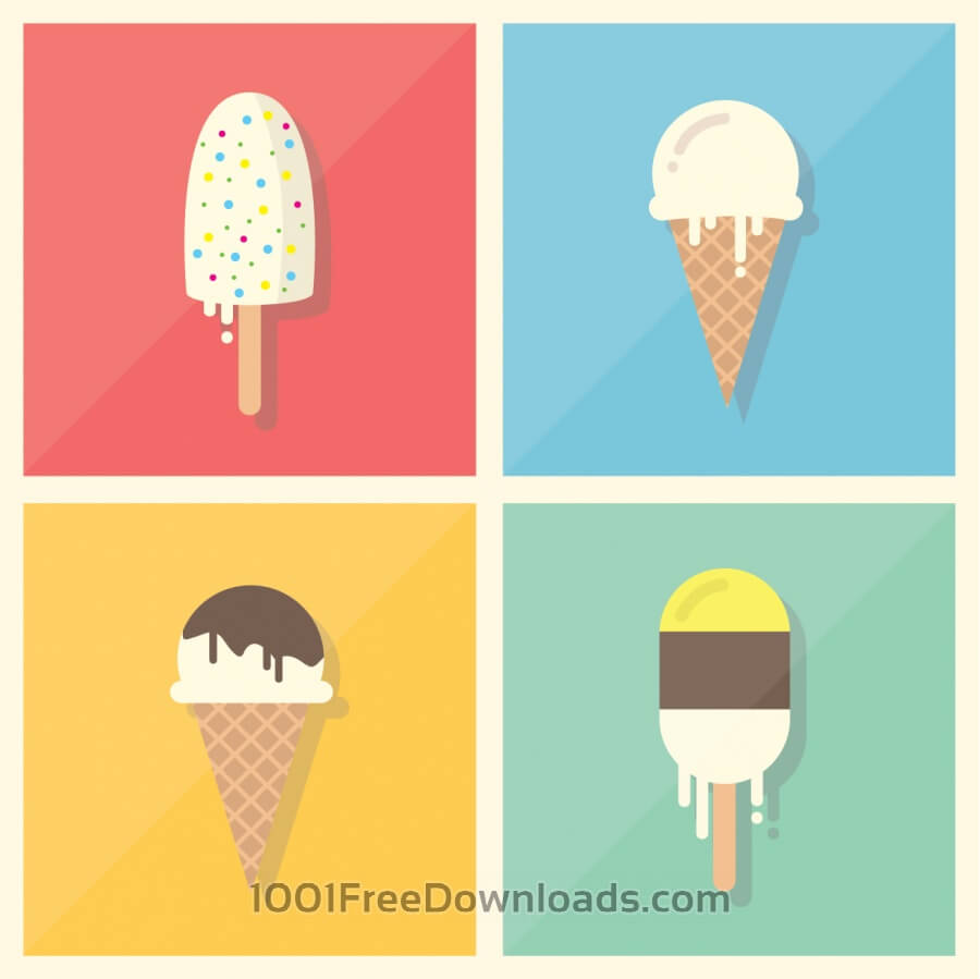 Free Vectors: Retro Vintage Flat Ice Cream Collection | Art