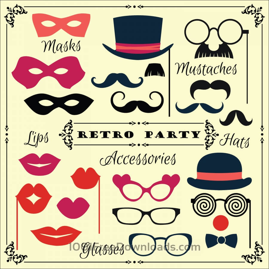 Free Vectors:  Accessories for fun retro party. Vector illustration | Abstract