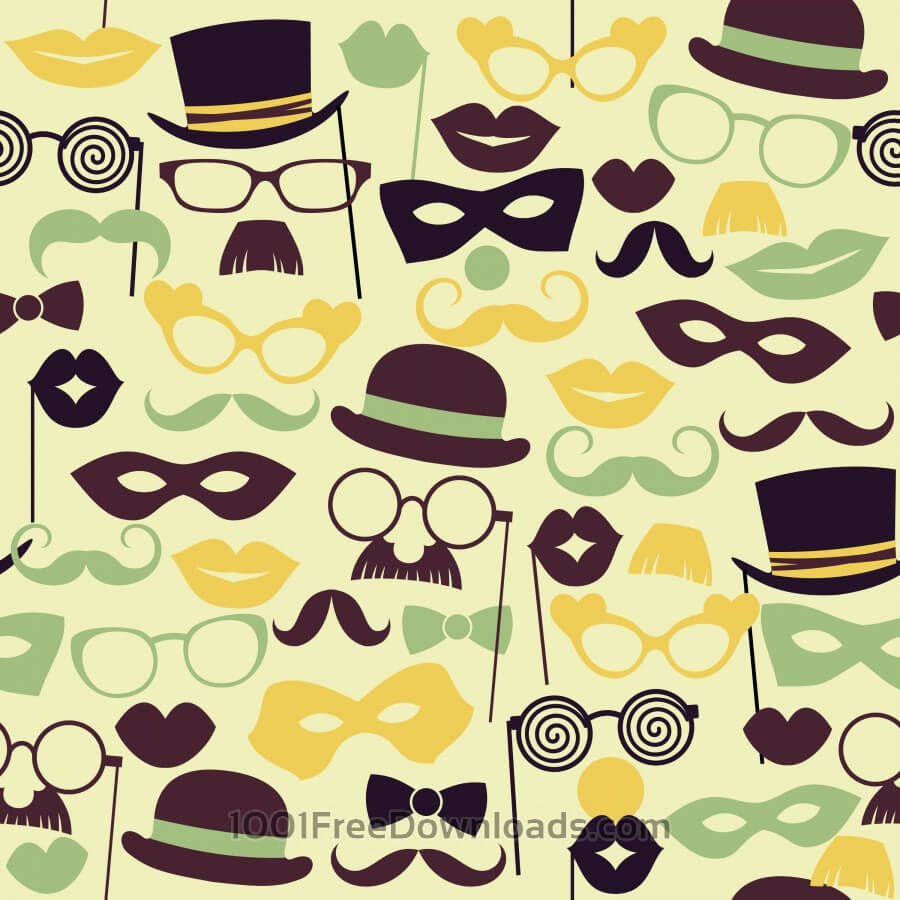 Free Fun retro party. Seamless pattern.