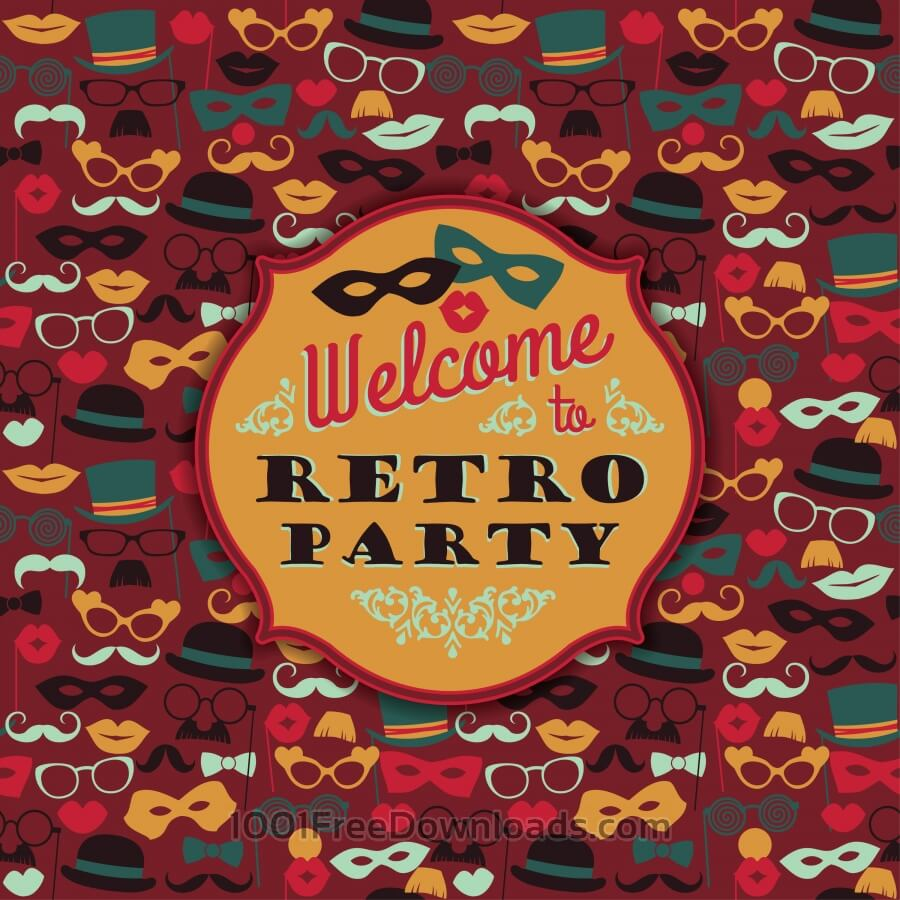 Free Invitation to fun retro party. Vector illustration.