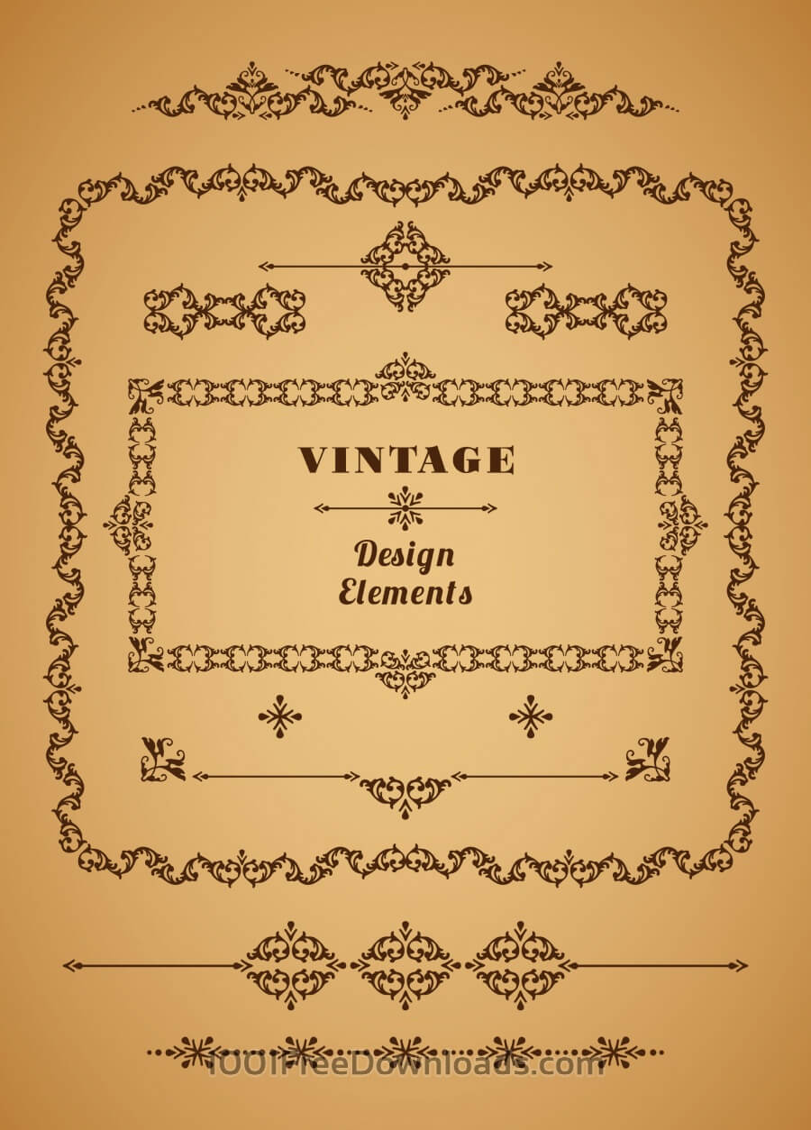 Free Set of Retro Vintage Frames and Borders. Design elements.