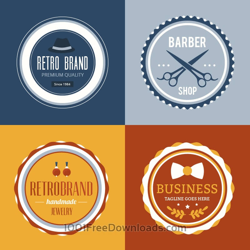 Free Vectors: Retro Vintage Insignias or Logotypes set. | Abstract
