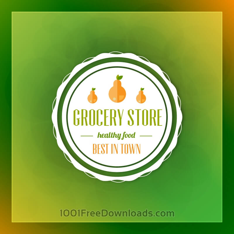 Free Grocery store label on green blurred background
