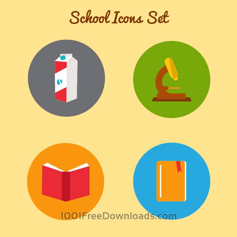 Free Vectors: Flat school icon set | Icons