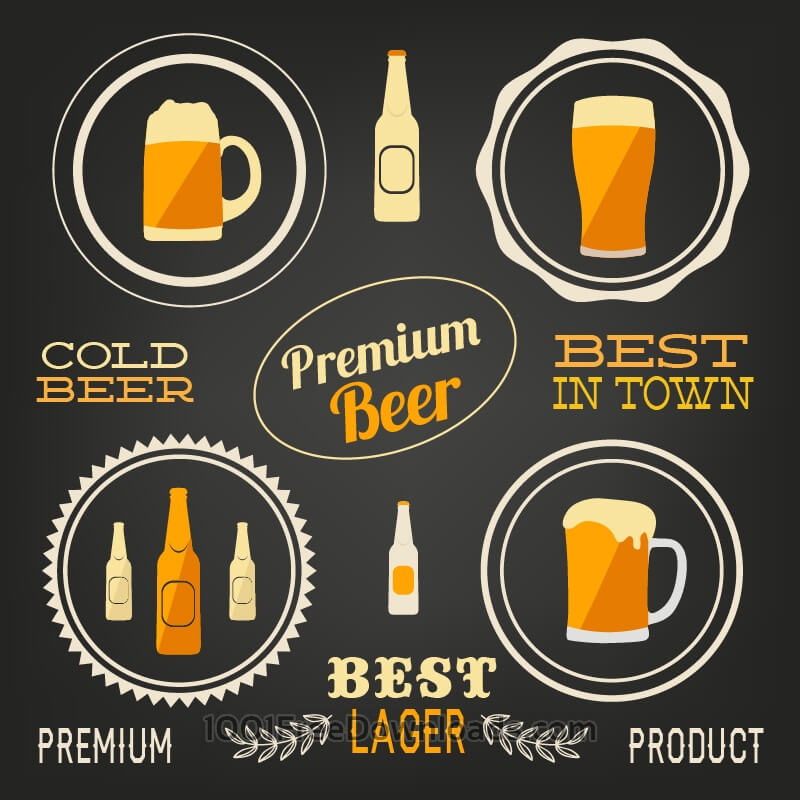 Free Beer vector elements, typo set