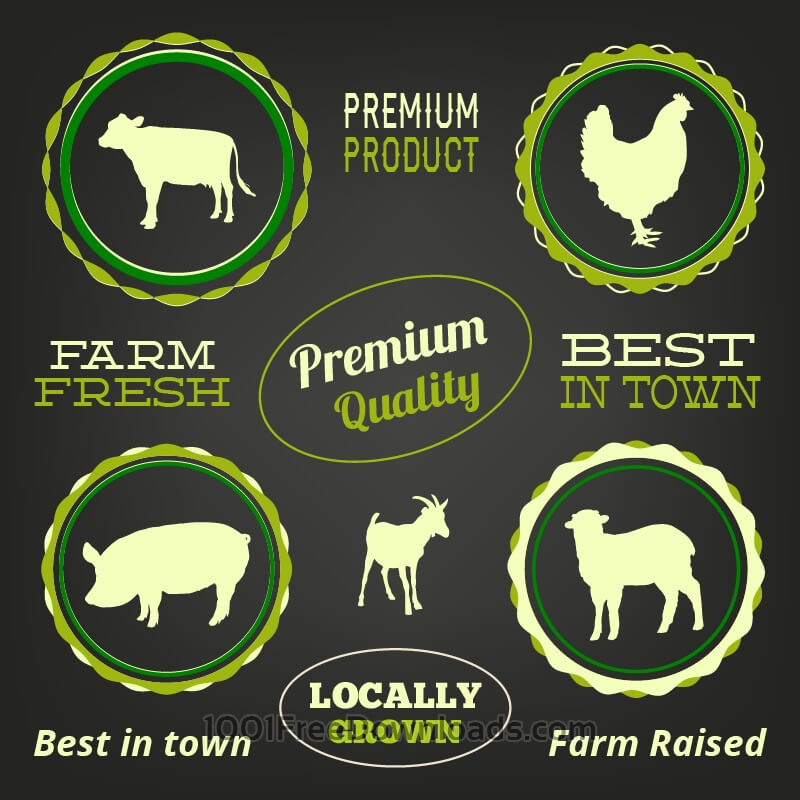 Free Farm animals, typo labels set
