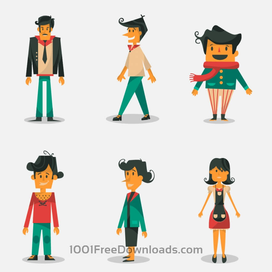 Free Vectors: People vector set | Cartoons