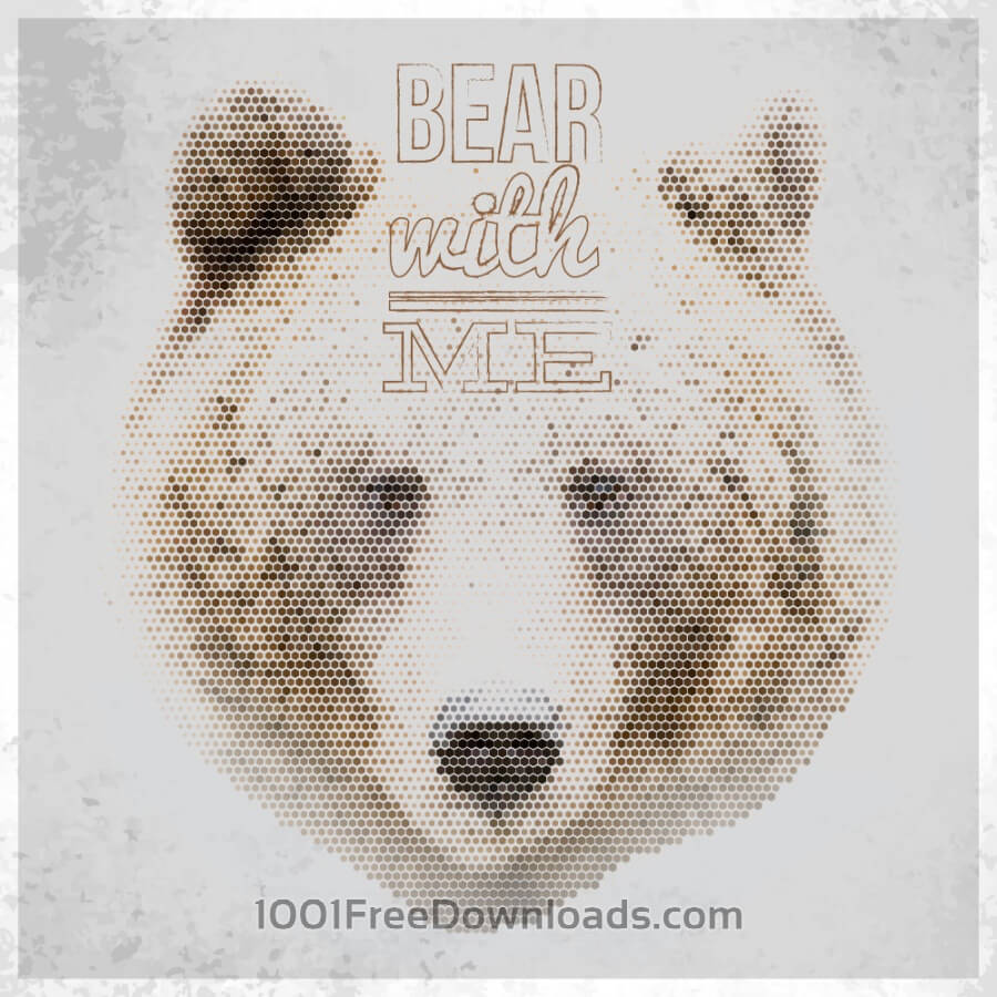 Free Vintage geometric bear with typography