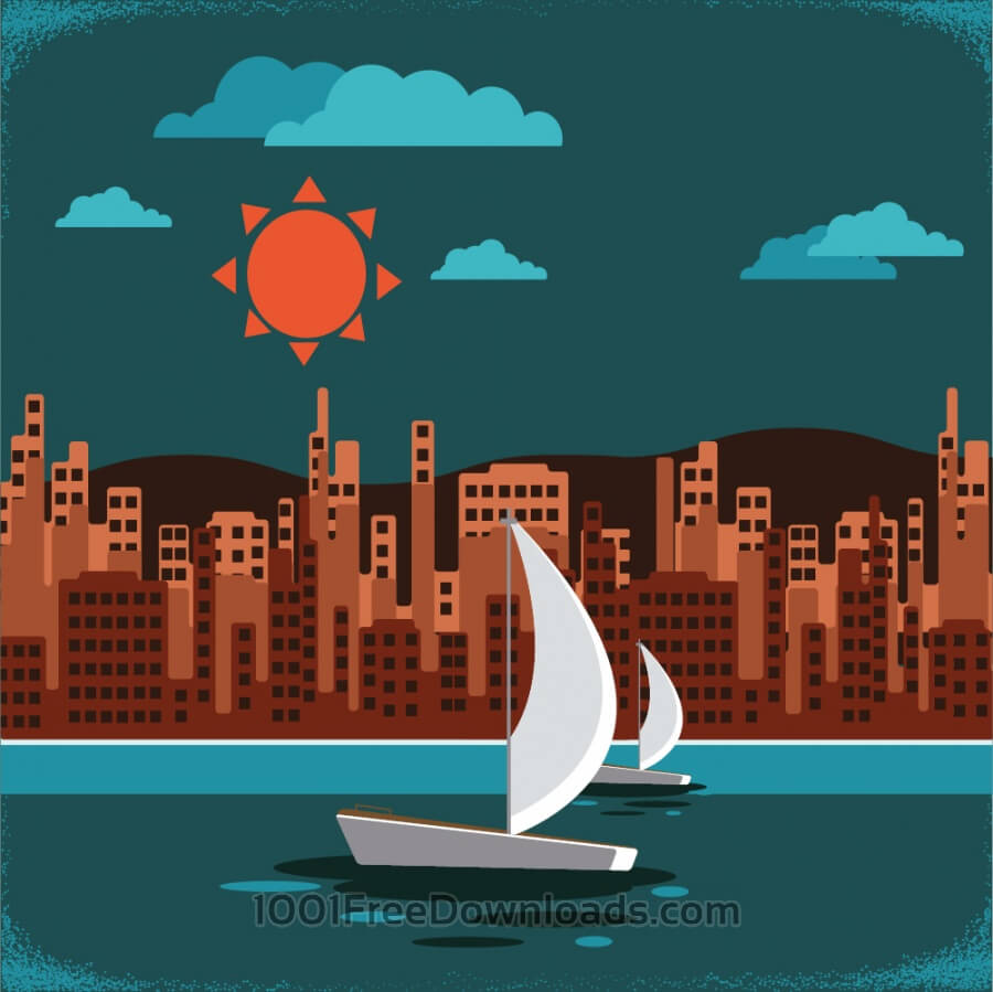 Free Vectors: Retro city landscape | Backgrounds