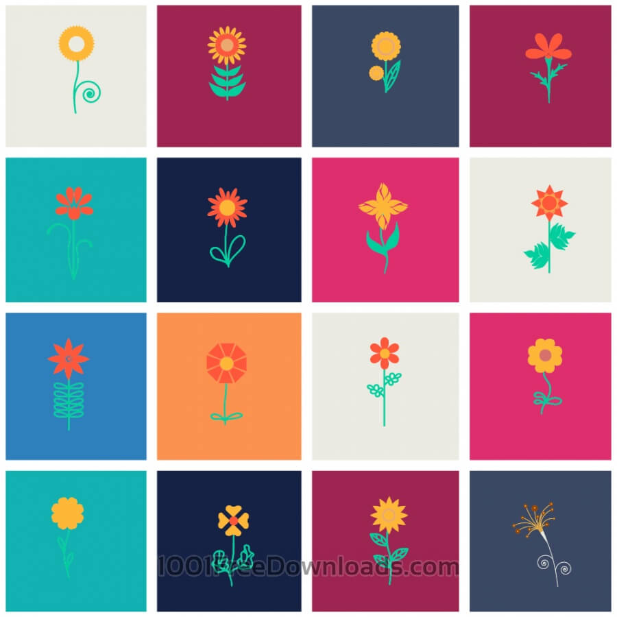 Free Vectors: Flower set | Flowers