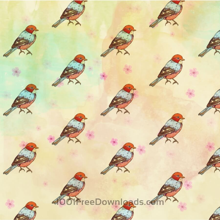Free Vectors: Pattern with retro bird | Patterns