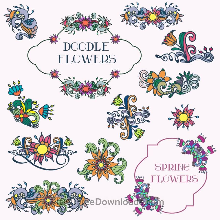 Free Doodle flower vector set