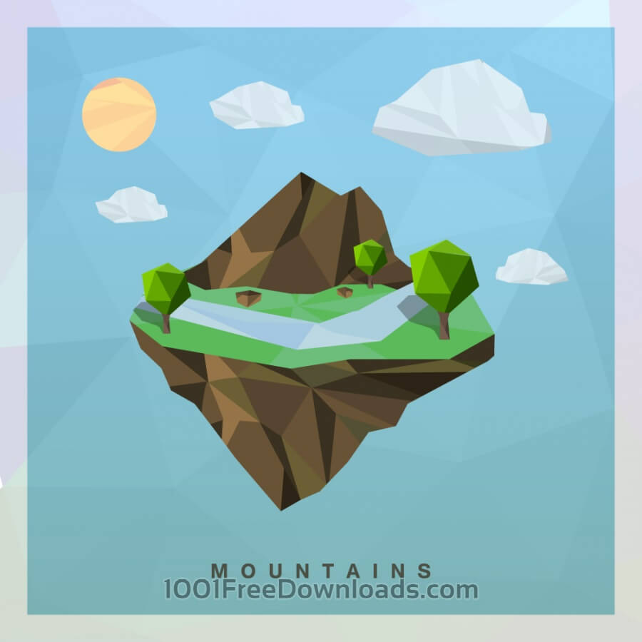 Free Isometric mountain Vector Floating Island