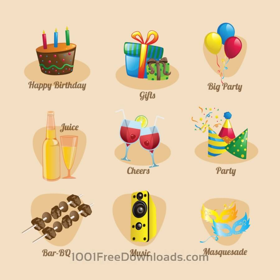 Free Party and birthday Icon Set