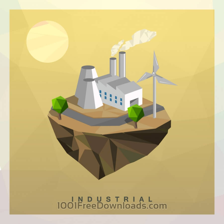 Free Isometric Industrial Vector Floating Island