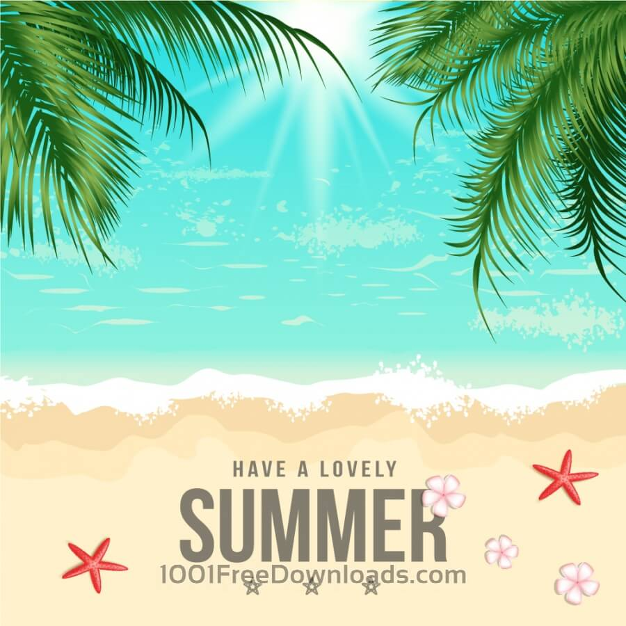 Free Vectors: Summer Beach Vector Illustration | Backgrounds