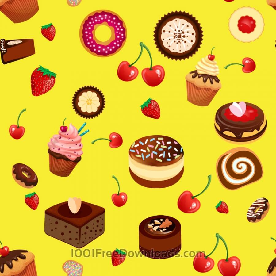 Free Vectors: Pattern with bakery, cherry and strawberry  | Patterns