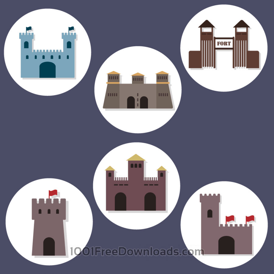 Free Vectors: Flat Fort Icons | Abstract
