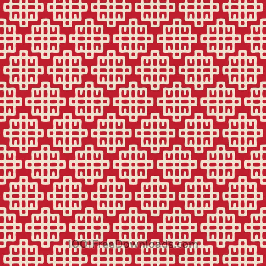Free Asian Red and White Geometric Pattern