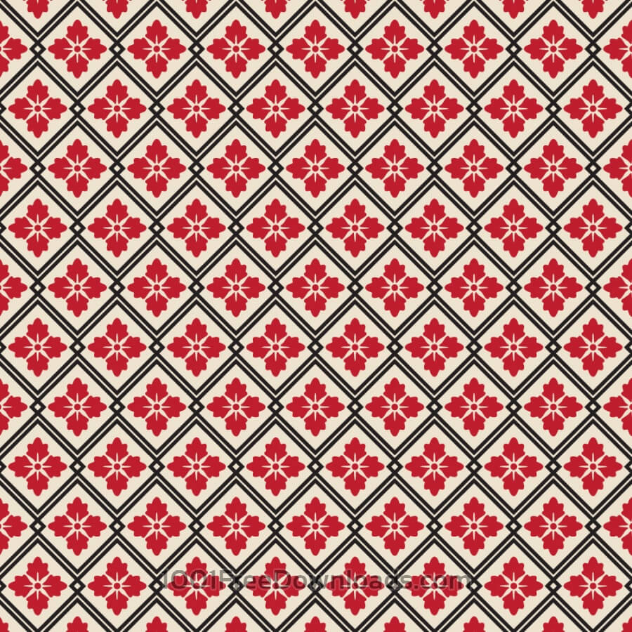 Free Asian Floral Red, White, and Black Pattern