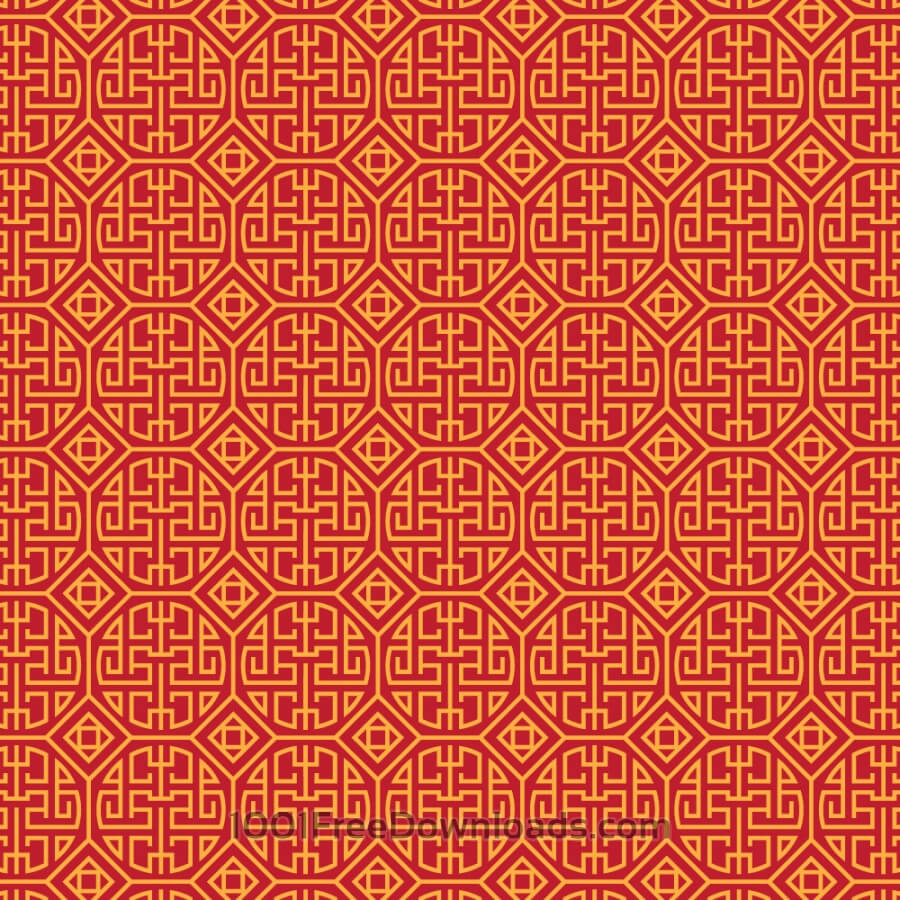 Asian Yellow and Red Pattern