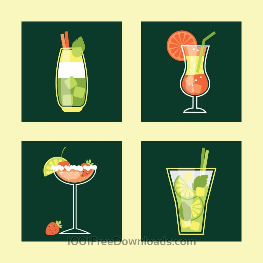 Free Cocktail Icon Set. Vector illustration