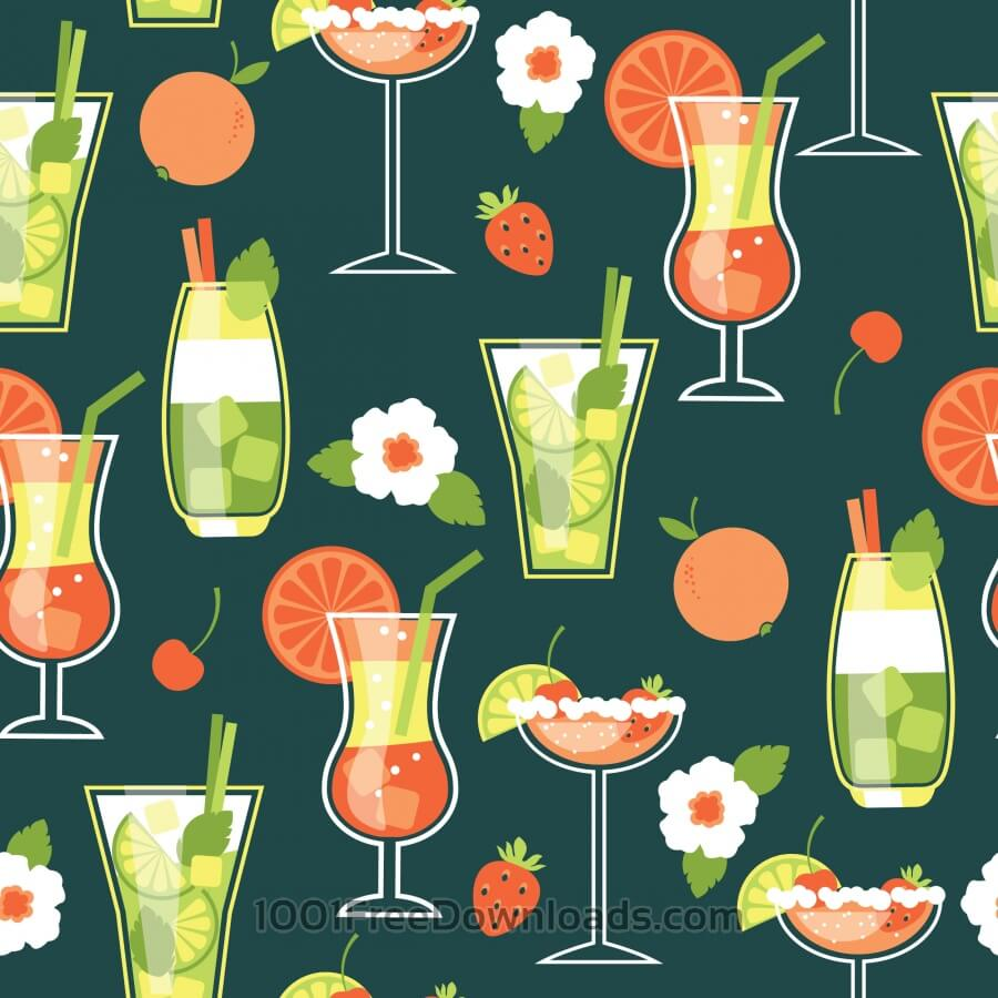 Free Vectors: Summer Cocktails . Seamless pattern. | Abstract