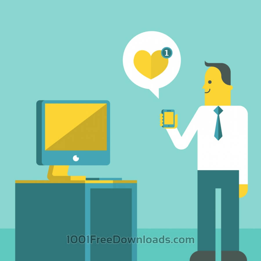 Free Vectors: Office guy holding phone | Objects