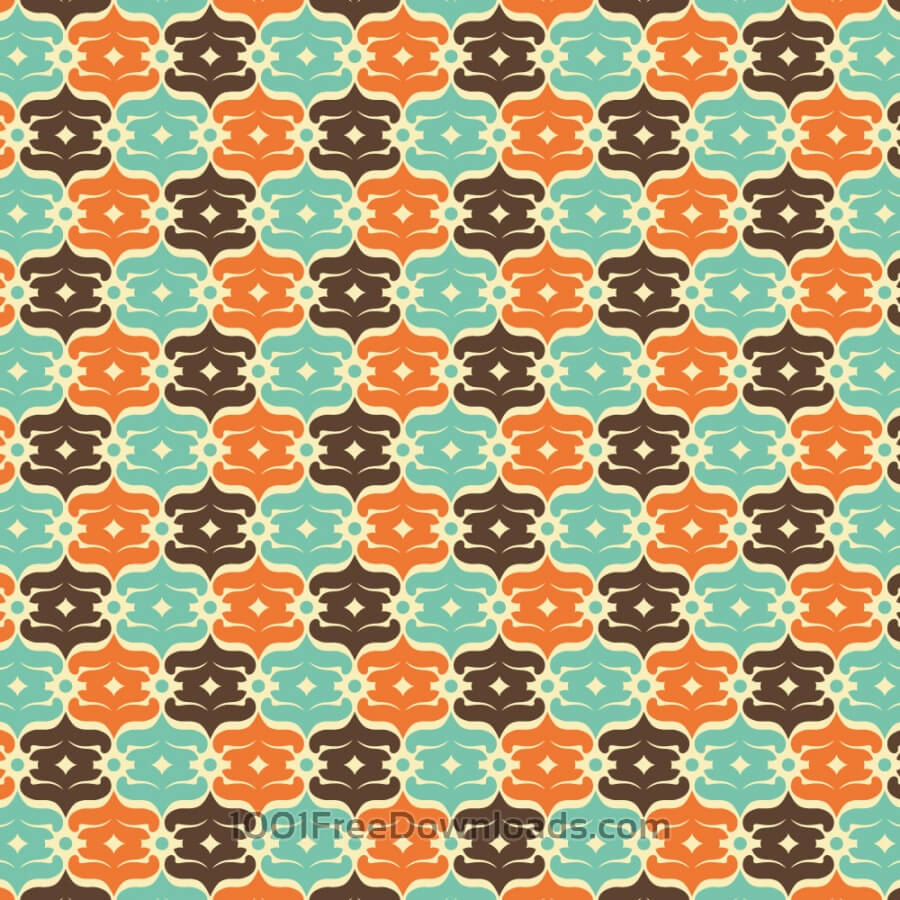 Free Vectors: Retro Blue, Orange, and Brown Object Pattern | Patterns