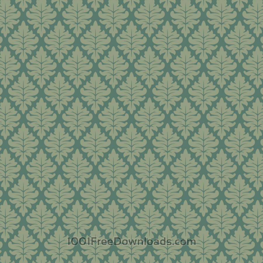 Free Ornate Floral Green on Green Wallpaper Pattern