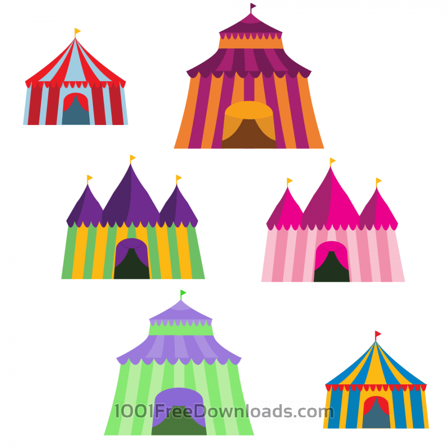 Colorful Big Top Vector Set