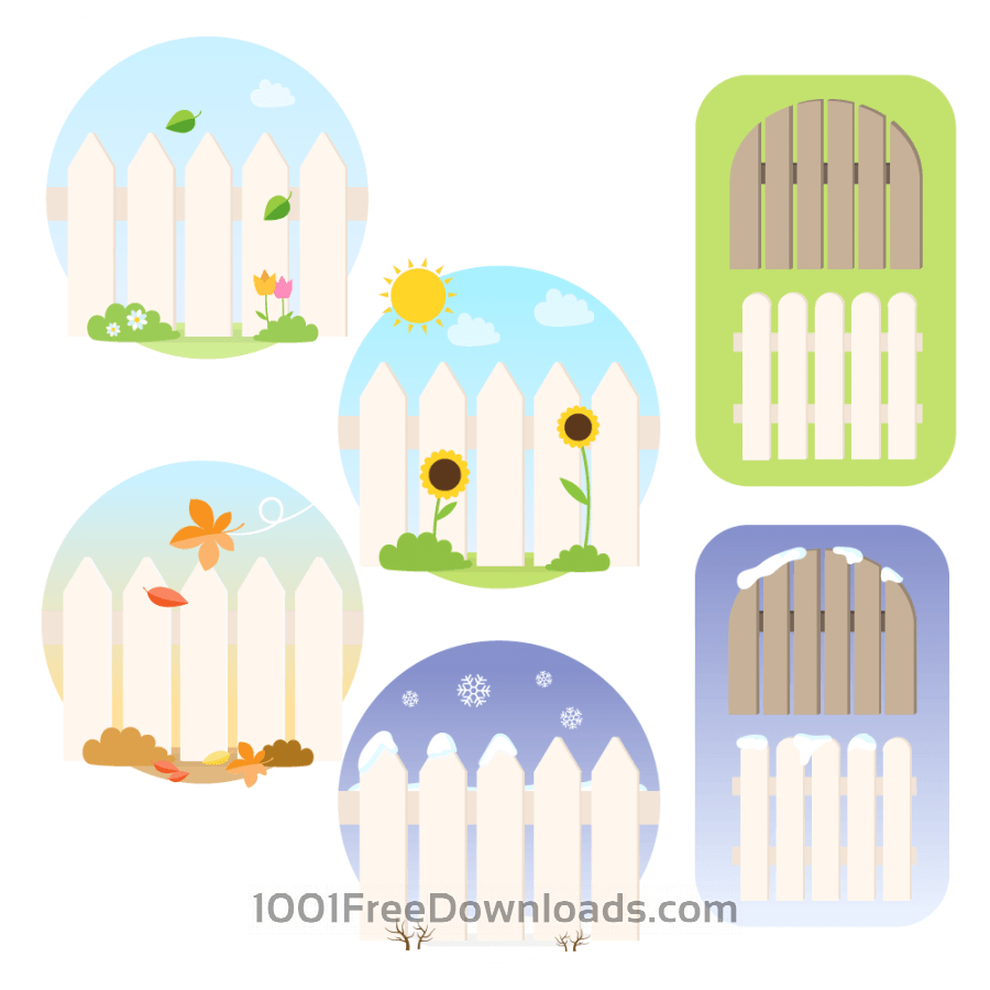 Free Seasonal Picket Fence Vectors