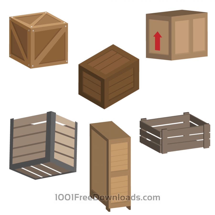 Free Vectors: Crate Vectors | Objects