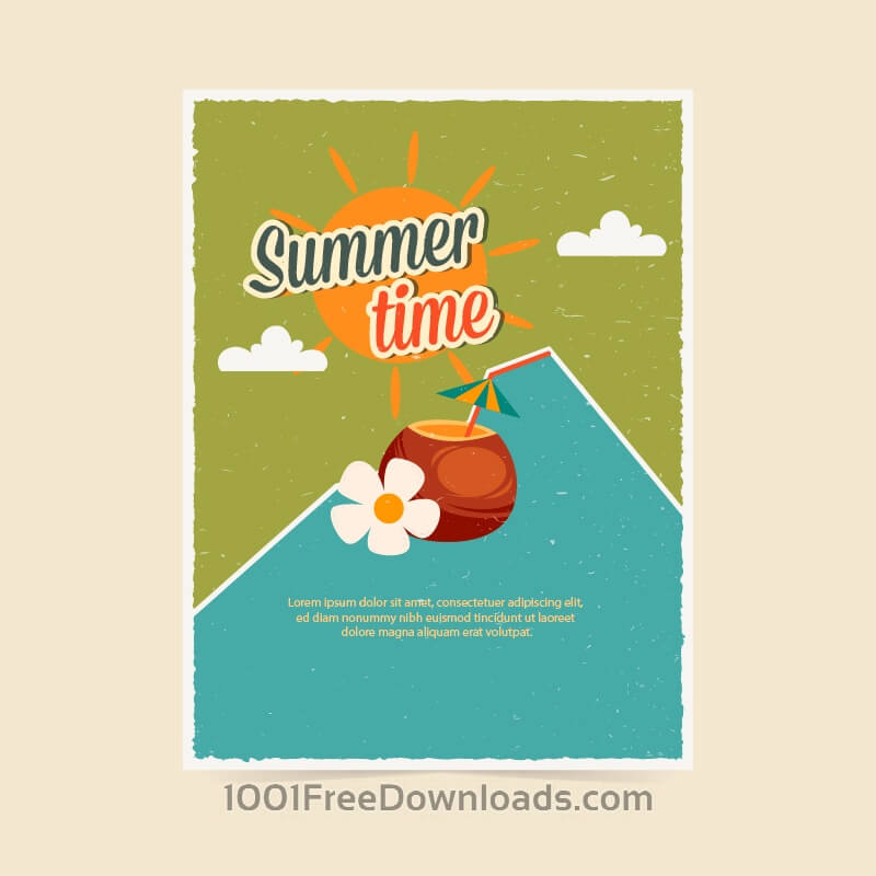 Free Vectors: Summer retro poster | Backgrounds