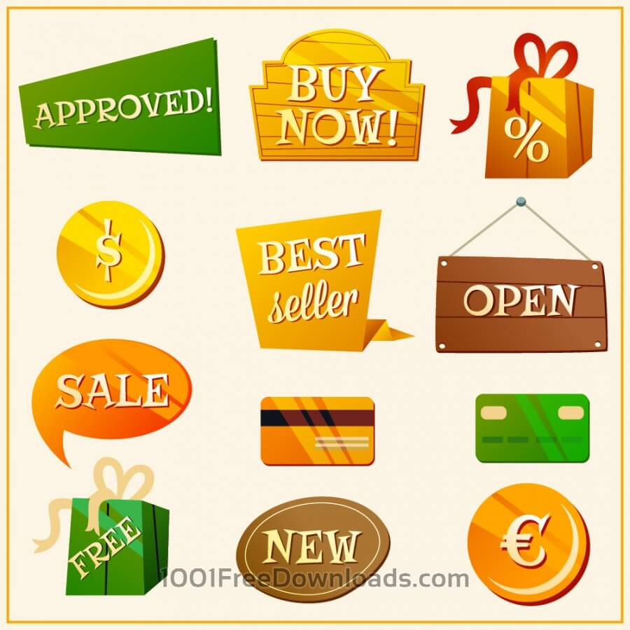 Free Vectors: Set of sale labels | Objects