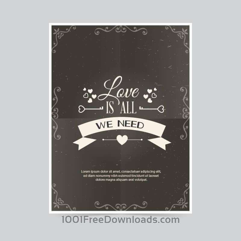 Free Vectors: Retro poster  | Valentine