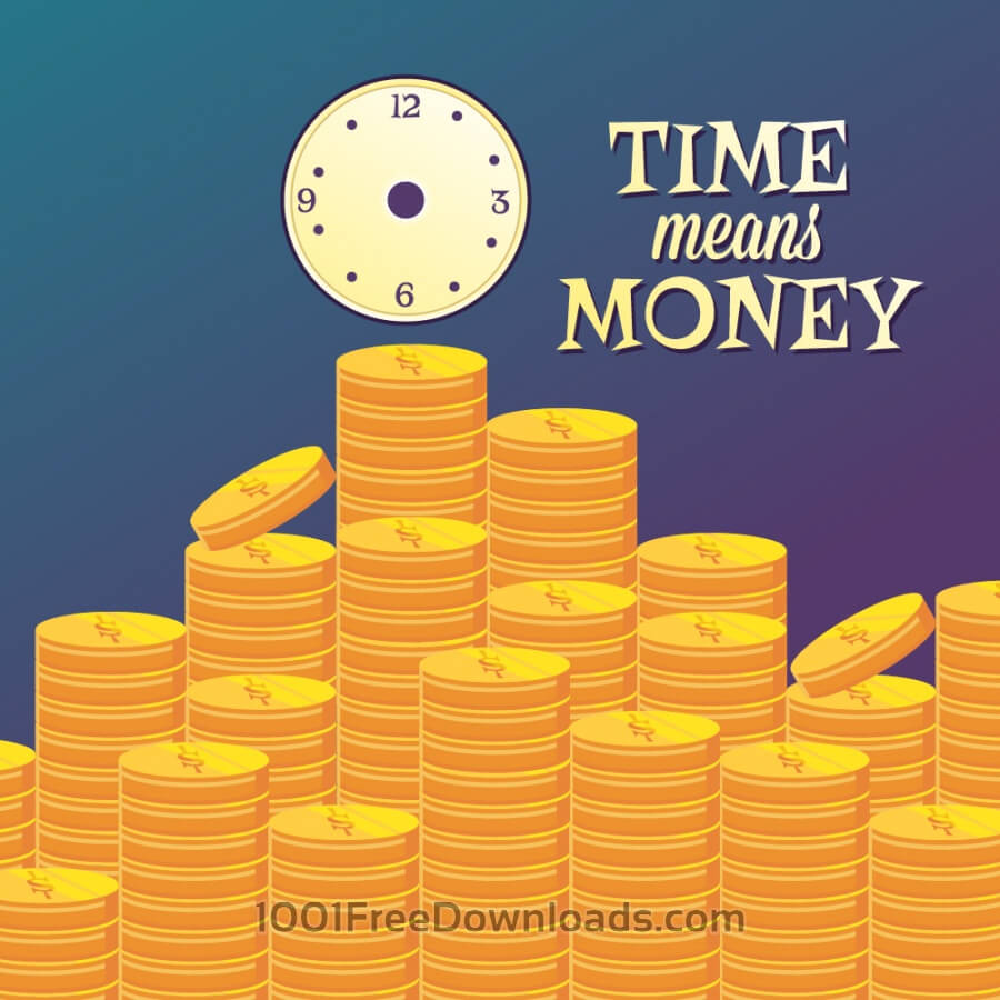 Free Vectors: Money illustration with coins and clock | Backgrounds