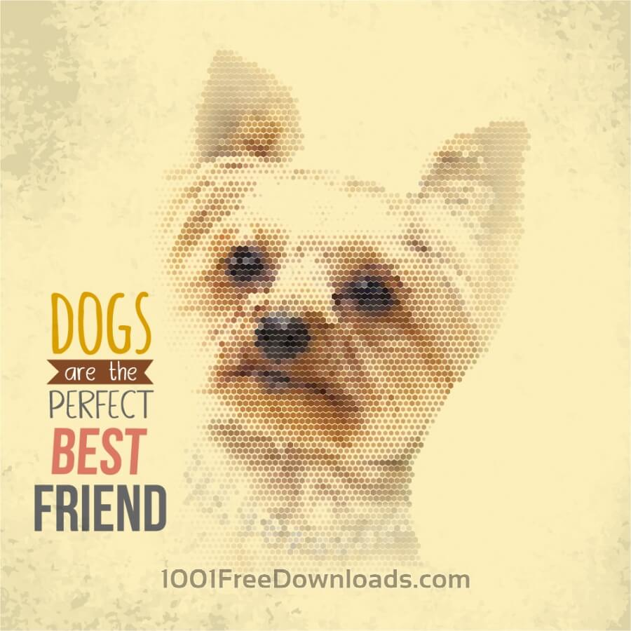 Free Vintage illustration with dog