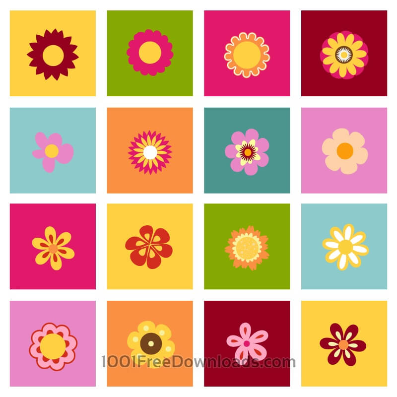 Free Vectors: Set of flat icon flower icons | Abstract