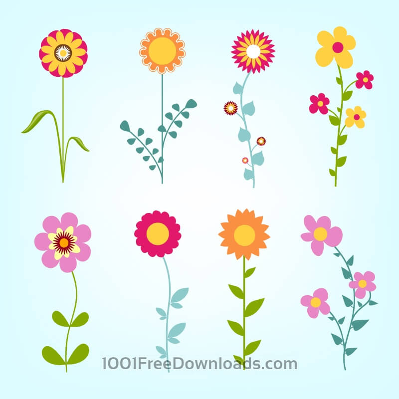 Free Vectors: Hand drawn doodle flowers set | Abstract