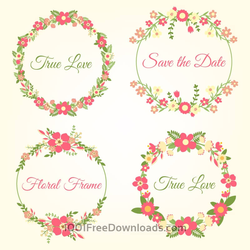 Free Wedding hand draw floral frames