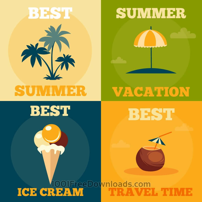 Free Summer retro illustrations