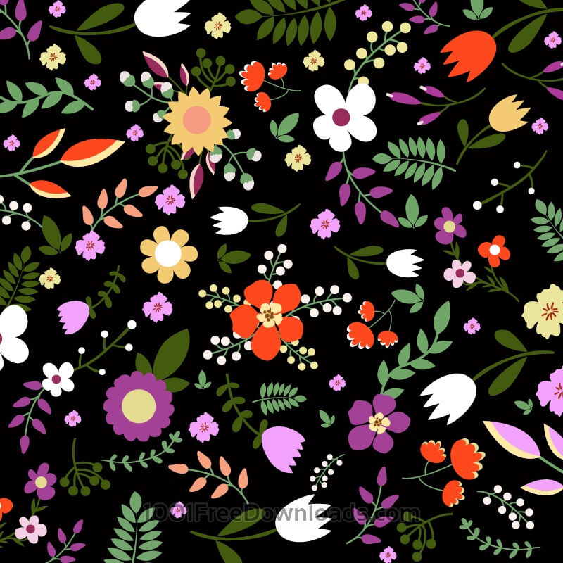 Free Hand draw seamless floral pattern on black bgackground