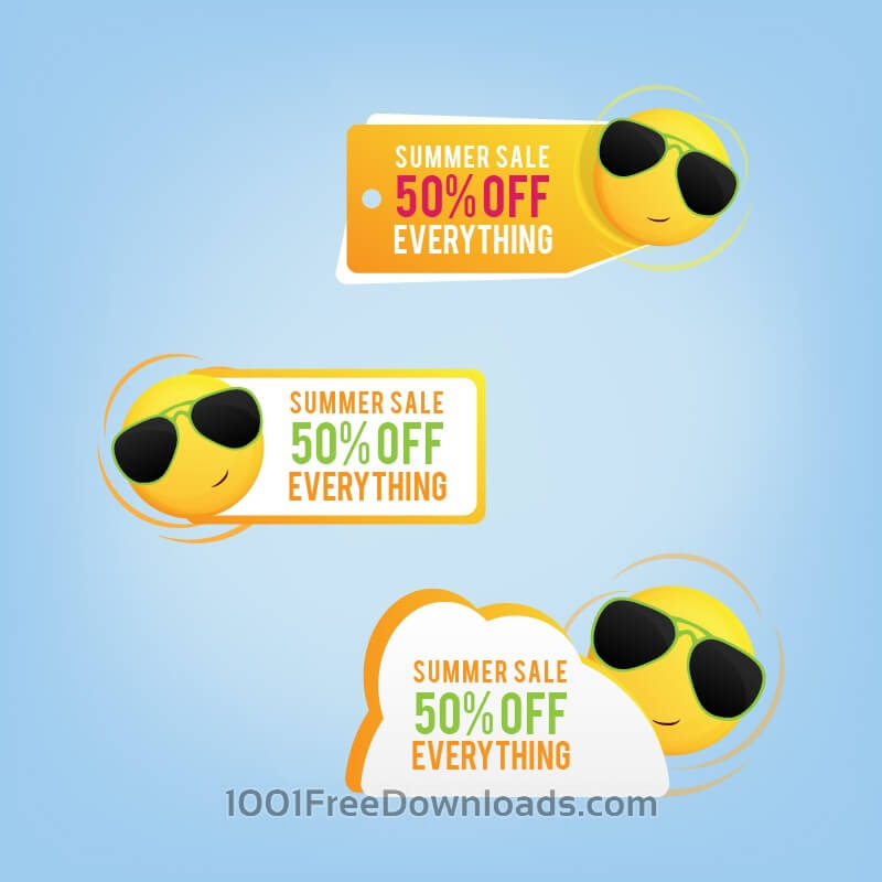 Free Summer price tags with a smiling sun