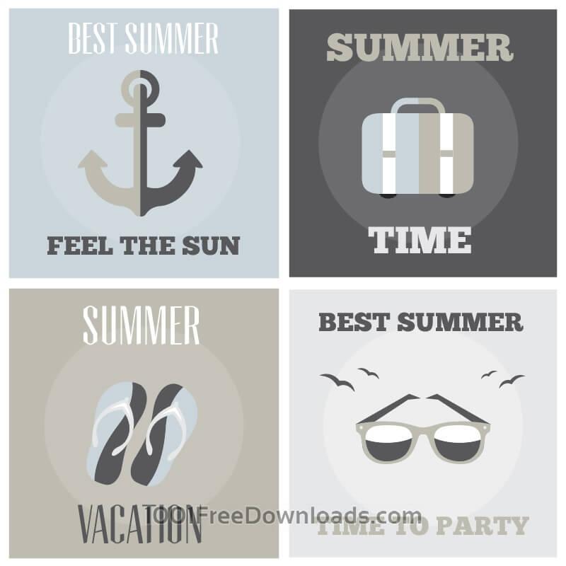 Free Vectors: Summer posters set | Abstract