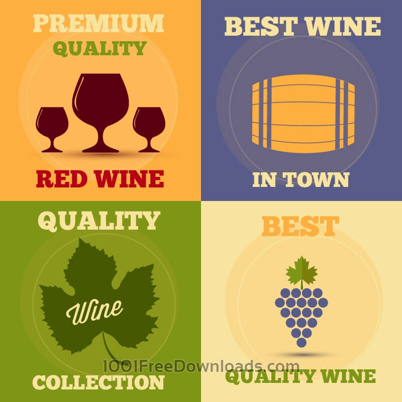 Free Retro wine posters set