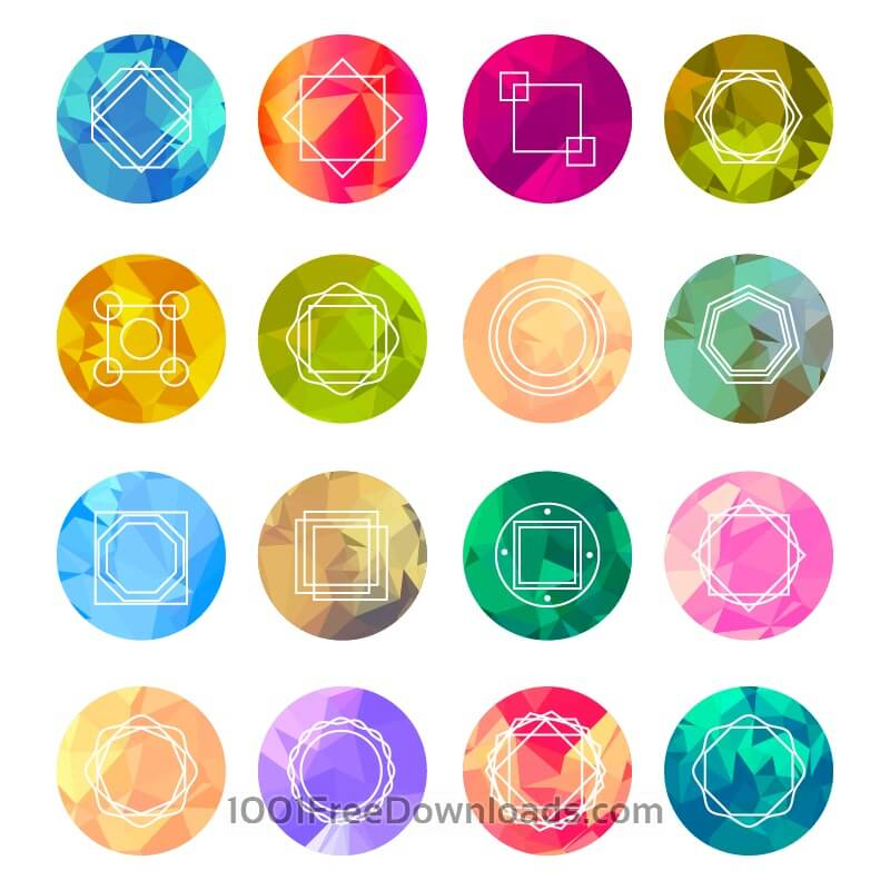 Free Abstract Geometric Labels Set With Logo Icons